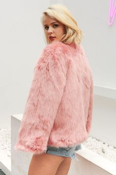 Stay warm and in style in this women's PINK faux fur fashion coat this winter. Find selection of PINK winter coats in a variety of lengths and styles. Pink Winter Coat, Pink Wool Coat, Pink Faux Fur Coat, Pink Trench Coat, Winter Fur Coats, Winter Coats Women, Coats For Women, Clothes For Women, Pink Coats