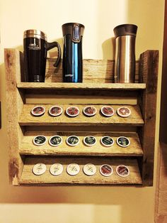 Keurig cup holder made from old pallet. #pallets #coffee #housedecor #kitchen