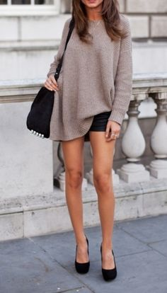 cozy sweater + leather.