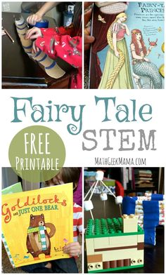 Fairy Tale STEM: Literature Based Math and Engineering Want a new way to enjoy Fairy Tales with your kids? Read together, then explore math and engineering with this set of Fairy Tale STEM challenges for Fairy Tale Activities, Steam Activities, Science Activities, Activities For Kids, Space Activities, Science Books, Writing Activities, Preschool Ideas, Fairy Tales Unit