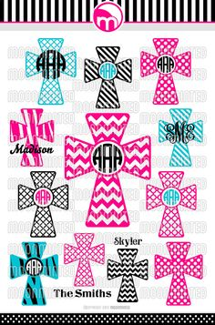 Christian Cross SVG Cut Files - Monogram Frames for Vinyl Cutters, Screen Printing, Silhouette, Die Cut Machines, & More