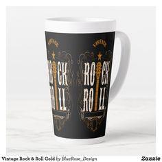 Vintage Rock & Roll Gold Latte Mug Vintage Rock, Vintage Shops, Coffee Drinks, Coffee Mugs, Latte Mugs, Beer Mugs, Christmas Card Holders, Rock And Roll, Portal