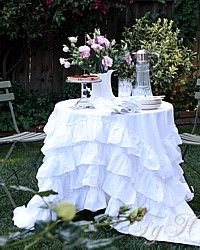 This Adorable Shabby Ruffled Romance Wht. PomPom Tablecloth Would Be So Fun  To Have!