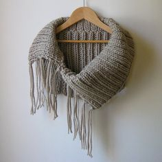 Fringed Cowl Knitted in Chunky Beige Aclylic Wool by knitBranda