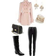 Love the jacket, romantic mixed with grunge almost via the black pants and boots