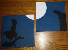 "AWESOME Disney silhouette paintings!! So many!  Disney Silhouette Painting - Aladdin and Jasmine ""The Kiss"""