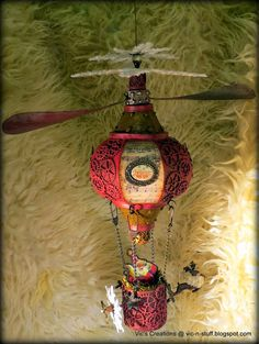 Vic's Creations: Compendium of Curiosities iii, Challenge 14 - Steampunk Christmas Hot Air Balloon