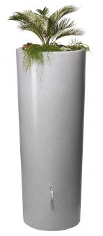 Regentonne Stone 2in1 350l mit Pflanzschale silver Graf Bild 1