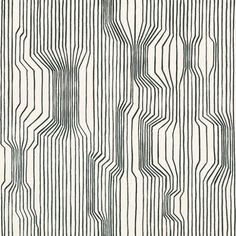 Frekvenssi (13012) - Marimekko Wallpapers - Vertical black lines cluster together and then veer apart, creating a striking appearance of varying depth and movement. The crisp lines give a modern classic look. Wide width, paste the wall wallcovering.