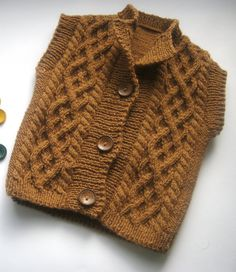 Hand knit baby vest, Brown baby vest, Knitting baby boy vest, Baby girls vest, Knit kids vest, Baby vest 6-9 months, Warm baby vest