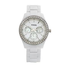 Fossil Women`s ES1967 Stella Day/Date Display Quartz White Dial Watch