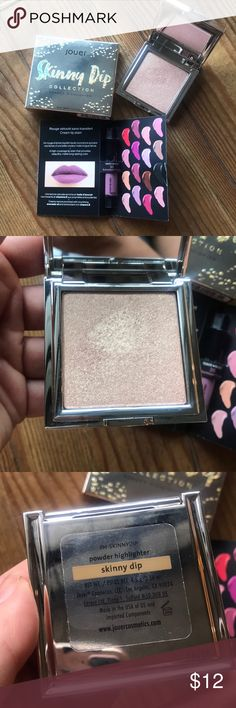🌸 Jouer Skinny Dip highlighter 🌸 Beautiful Jouer highlighter. This has been swatched once before. The color is too deep for me sadly. The formula is amazing. Comes with little Sephora liquid lip sample. Sephora Makeup Luminizer