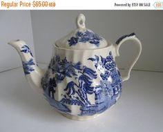 ON SALE Sadler Blue Willow Teapot Large Antique by ReVintageLannie