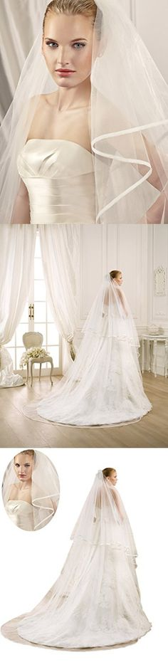 Mollybridal Simple 3M Long Satin Ribbon Cathedral Wedding Veils One Layer With Comb Ivory
