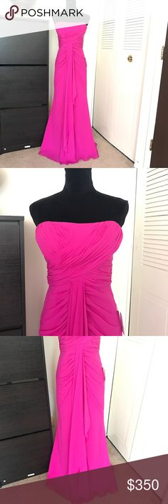 Badgley Mischka Collection Gorgeous Pink Gown New with tag gorgeous gown by Badgley Mischka Collection. Beautiful pink color. Soft and flattering. Strapless style. Drapery and ruffles on the front. Has a little train Size 6  Measurements laying flat: Bust: Waist: Hips: Length:  Originally retails for $795+tax  Check images and feel free to ask questions. Also feel free to check out my other listings for more. Bundle to save. Badgley Mischka Dresses Prom
