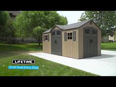 Lifetime shed comes in a beautiful beige color with a new style vertical design. It 108 sq. of storage and comes with everything you'll need. Storage Shed Kits, Outdoor Storage Sheds, Outdoor Sheds, Shed Building Plans, Shed Plans, Resin Sheds, Shed With Loft, Shed Blueprints, Vertical Siding