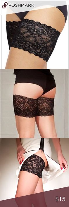"""NWOT. Bandelettes Thigh Bands (Anti Chafing) Elastic Lace Bands with non slip silicone that protect inner thighs and prevent chafing. No more skin-to-skin rubbing, no more irritation, no more pain. Ever suffer from annoying chafing or irritation in your inner thigh area? Not anymore. Size: B 23""""-34"""" (56-61 cm) · Made Of Beautiful Lace – 5.5"""" in length · Designed With Slip-Resistant Silicone · Can Be Discreet And Highly Functional At the Same Time · 90% nylon; 10% spandex Bandelettes…"""