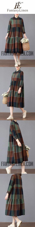 FANTASYLINEN LOOSE LARGE PLAID DRESS, COTTON PLUE SIZE DRESS Q3019