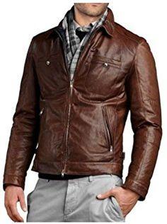New Mens Leather Jacket Slim fit Biker Motorcycle genuine lambskin jacket - Leather Jacket Outfits, Lambskin Leather Jacket, Leather Men, Brown Leather, Leather Jackets, Jacket Style, Biker Style, Look Cool, Mens Fashion