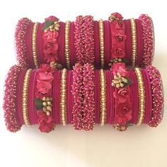 Bangle set for wedding ceremonies like Jaggo, mehandi or even bridal. Match them with any outfit enhancing the look of it. Flower Jewellery For Mehndi, Fancy Jewellery, Flower Jewelry, Fashion Jewellery, Silver Jewellery, Crystal Jewelry, Fashion Earrings, Indian Jewelry Earrings, Indian Wedding Jewelry