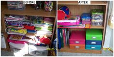 Before and After pictures of my daughter's coloring and craft items. The Document Boxes are perfect to store coloring books, drawing papers, activity books, etc. She can easily find what she wants and it looks MUCH neater, too! A set of 5 Document Boxes is only 19.00! Like what you see?  Check out all of Clever Container's products at www.mycleverbiz.com/lwagner