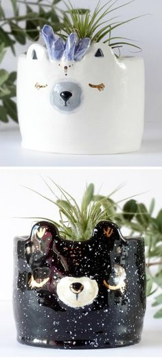 Animal ceramics // ceramic planters // air planters // illustrated ceramics
