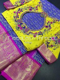 Kids Blouse Designs, Hand Work Blouse Design, Simple Blouse Designs, Stylish Blouse Design, Wedding Saree Blouse Designs, Pattu Saree Blouse Designs, Blouse Designs Silk, Designer Blouse Patterns, Maggam Work Designs