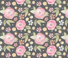 Watercolor Floral in Gray fabric by sugarfresh on Spoonflower -  available as fabric, wallpaper and gift wrap