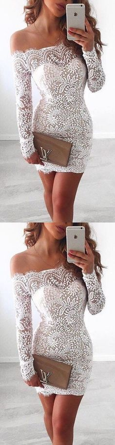 White Homecoming Dress,Lace Homecoming Gown,Bodice Sexy Mini Dress,Off The
