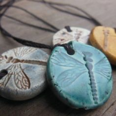 ONE Dragonfly Essential Oil Diffuser Necklace, Nature Aromatherapy Ceramic Pendant Jewelry, Mock Fossil Imprinted Round Bug