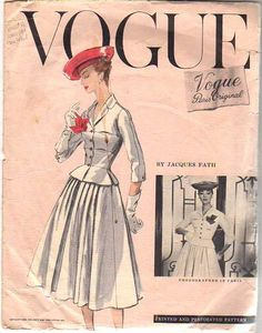 Vogue Paris Original 1336, Jacques Fath, 1956.  Acquired on eBay 7-15-12 for 137 dollars; Bust 30