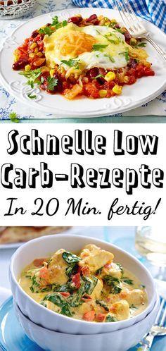 Schnelle Low Carb-Rezepte - in 20 Minuten fertig! - Düşük karbonhidrat yemekleri - Las recetas más prácticas y fáciles Lunch Recipes, Low Carb Recipes, Diet Recipes, Healthy Recipes, Diabetes Recipes, Fast Low Carb, Calories In Vegetables, Low Fat Diets, Low Carb Lunch