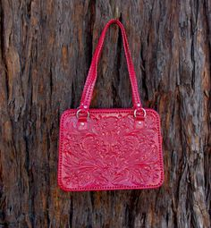Red Hand Tooled Leather Purse.  120.00 7c9bc4227bd10