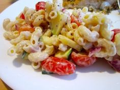 Healthy Macaroni Salad. So easy and a great side dish or food for a party. A lot less guilt than the typical BBQ food!!! YUM!