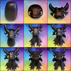 toothless tutorial Polymer Clay Animals, Cute Polymer Clay, Fimo Clay, Polymer Clay Charms, Ceramic Clay, Clay Art Projects, Polymer Clay Projects, Clay Crafts, Dragons