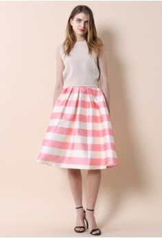 Candy Pink Striped Midi Skirt - CHICWISH SKIRT COLLECTION - Skirt - Bottoms - Retro, Indie and Unique Fashion