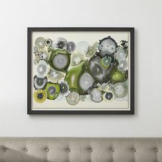 Shop Collide Print.  Inspired by the stunning patterns, colors and crystals that hide within the unassuming geode rock, artist Laura van Horne creates a treasure trove of green- and grey-tinted cross-sections in this intricate abstract composition.