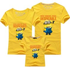 1Psc kids t-shirt short sleeve despicable me minions boys clothes girl t shirts Family fitted T-shirts Children Tops cotton Tees