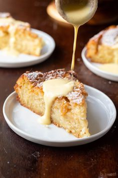French Apple Cake with Maple Ginger Custard Sauce — b. sweet French Apple Cake with Maple Ginger Custard Sauce — b. Apple Desserts, Apple Recipes, Just Desserts, Sweet Recipes, Cake Recipes, French Desserts, French Sweets, French Recipes, Food Cakes