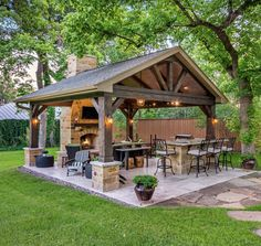 The patio of a house can be settings for many unique things. Whether you have a tiny space or a larger one, you want your outdoor space to be comfortable and nice. Your patio supplies the foundation for your outdoor living space. Backyard Kitchen, Outdoor Kitchen Design, Outdoor Kitchen Plans, Summer Kitchen, Backyard Patio Designs, Backyard Landscaping, Landscaping Ideas, Pergola Ideas, Backyard Gazebo
