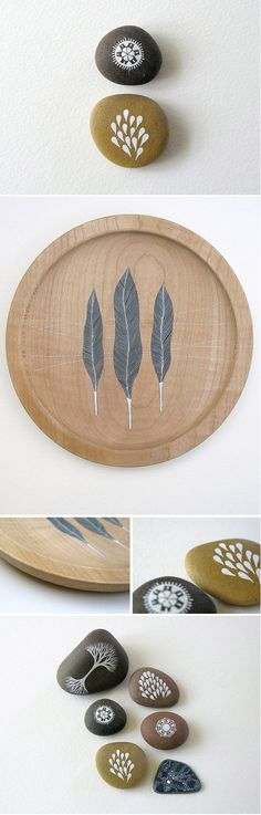 delicate paint on wood and stone- Natasha Newton