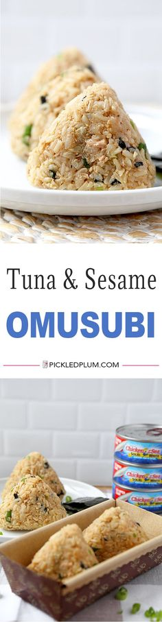 Tuna and Sesame Omusubi - Savory, sweet and nutty rice balls filled with crunchy and meaty ingredients – it's simply delicious! Easy Japanese Recipes, Asian Recipes, Sweet Recipes, Healthy Rice, Healthy Snacks, Diet Snacks, Onigiri Recipe, Yakitori, Onigirazu
