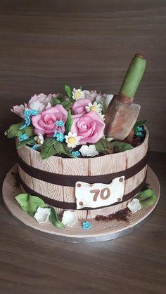 Narodeninova - cake by - Flower Pot/Garden Cakes - Torten Birthday Cake For Father, Pretty Birthday Cakes, Adult Birthday Cakes, Pretty Cakes, Cupcakes, Cupcake Cakes, Flower Pot Cake, Cake Flowers, Mom Cake