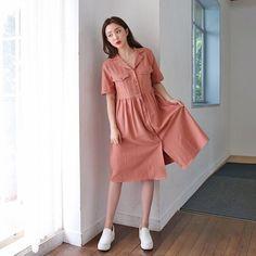#envylook Pocket Detail Notched Collar Dress #koreanfashion #koreanstyle #kfashion #kstyle #stylish #fashionista #fashioninspo #fashioninspiration #inspirations #ootd #streetfashion #streetstyle #fashion #trend #style