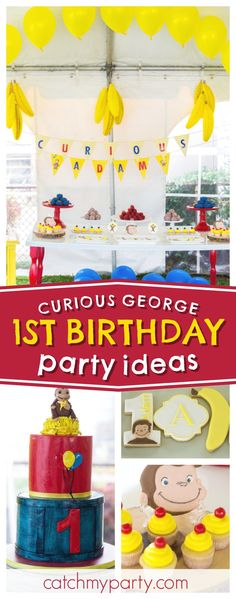 Check out this fun Curious George 1st birthday party! The birthday cake is awesome!! See more party ideas and share yours at CatchMyParty.com