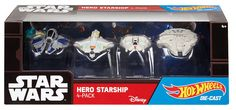 Hot Wheels Star Wars Hero Starship 4-Pack - Jedi Starfighter, Ghost, Rebel Snowspeeder, Millenium Falcon