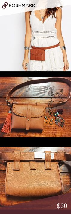"NWT asos waist belt bag / purse NWT asos waist belt bag / purse. You can look cute and comfy, because you don't need to carry the handbag!! BOHO style, vegan leather belt and cute little purse attached. You can move around the purse, I can't since it's tagged. I can put my coin purse and iPhone6 and there are still some space left. Other jewelry isn't included, but I have separate listings of them! Check it out!measurement: belt: size S, 41"" x 1"". Purse: 6.5"" x 5"" x 1"". PRICE FIRM unless…"