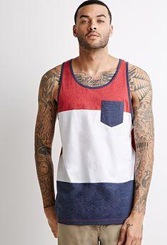 's Colorblock Pocket Tank Top - Red - Forever 21 T-shirts Forever 21 T Shirts, Summer Outfits Men, Best Tank Tops, Slip, Tank Man, Shirt Designs, Men Casual, Mens Tops, 21 Men