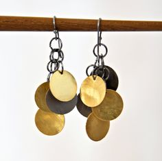 Gold and Gunmetal Disk French Hook Earrings