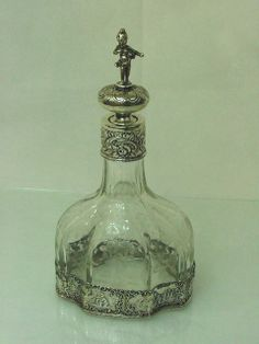 Decorative Arts Victorian Cut Crystal Scent Perfume Bottle Repousse Sterling Silver Cap Markedw High Safety Glass